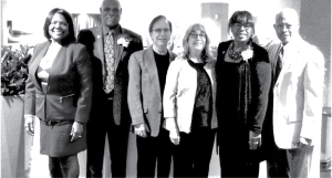 Attending the Franklin & Eleanor Roosevelt Democratic of the Year Awards Dinner were (l-r):  Marcelle and Martin Greenidge, Hubert Humphrey Democratic Club Co-Presidents Larry Caballero and Elaine Duvali, and Beverly and William Porter.