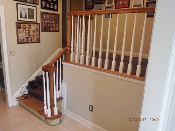 Losche And Crusius Construction Stair Railing   Split Level Stair Railing   Electrical Conduit   Wood   Julia   Entryway   Tri Level