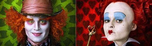 Johnny Depp y Helena Bonham Carter en 'Alicia en el País de las Maravillas'