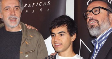 Fernando Trueba, el actor Abel Ayala y Álex de la Iglesia