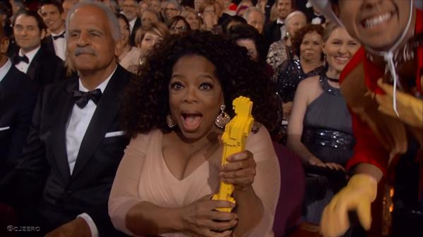 Oprah, eufórica con su Oscar de Lego por Selma