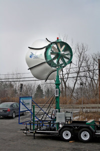 Though the Windtamer looks more like an outdoor PA speaker than a windmill, it's  inventor is claiming it has much higher efficiencies  than the traditional propeller type wind turbines.
