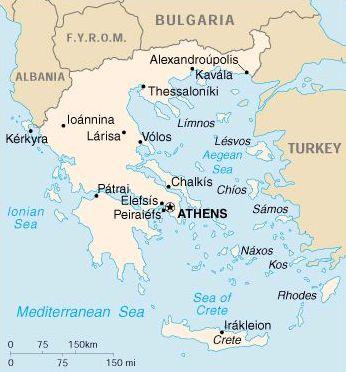Mapa de Atenas en Grecia