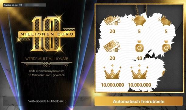 10 Millionen Euro Rubbellos Ansicht