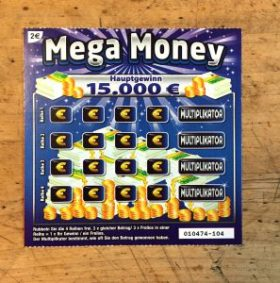 Mega Money Rubbellos mit Hauptgewinn von 15.000€
