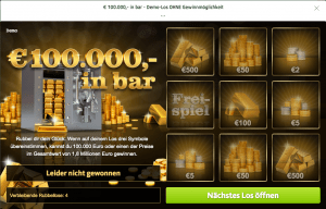 € 100.000,- in bar Online Rubbellos von Lottoland.com