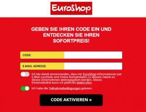 EuroShop Webseite Code einlösen
