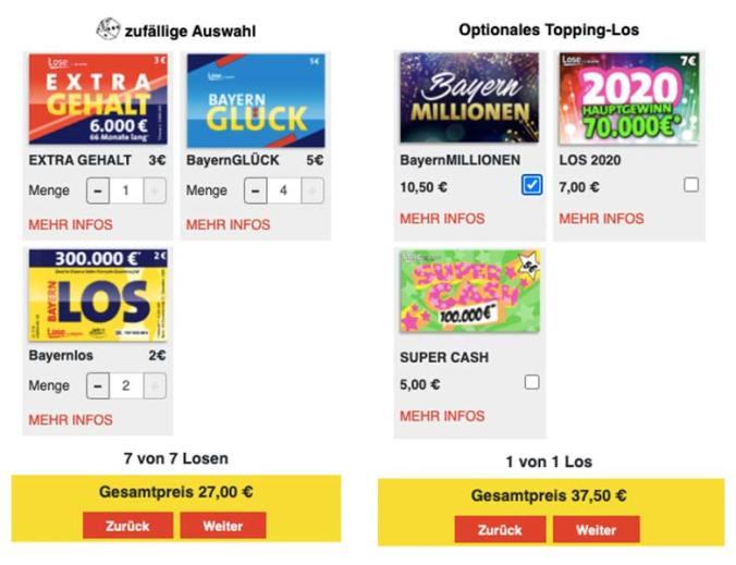 Lotto Bayern Silvesterkalender Konfigurator-Ansichten (Beispielkonfiguration)