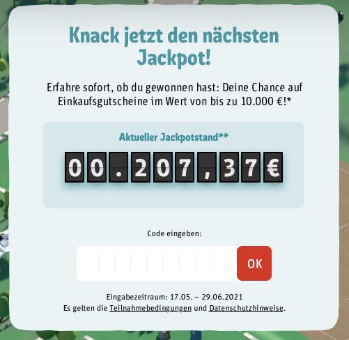 REWE Jackpot Codeeingabefenster