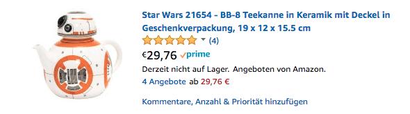 Star wars BB8 Teekanne Geek Geschenk