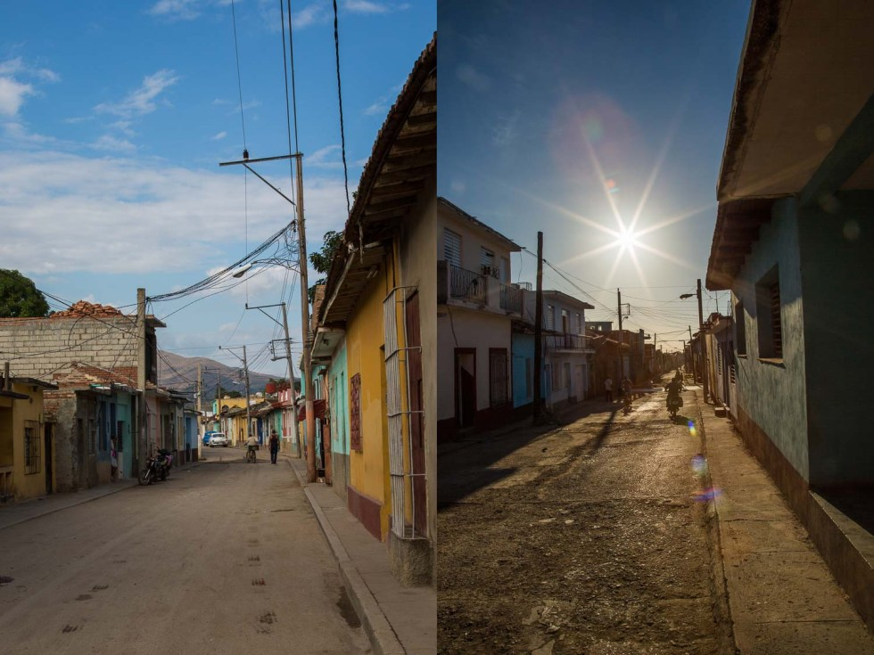Dyptic of 2 streets in Trinidad Cuba lined with colorful houses