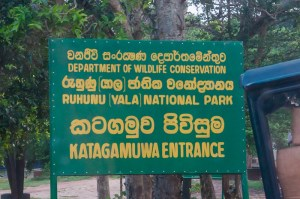 Yala National Park entrance sign in Sri Lanka | LOST NOT FOUND | Sri Lanka Itinerary | Sri Lanka Travel | Asia Travel | Things to Do in Sri Lanka | 10 Days in Sri Lanka