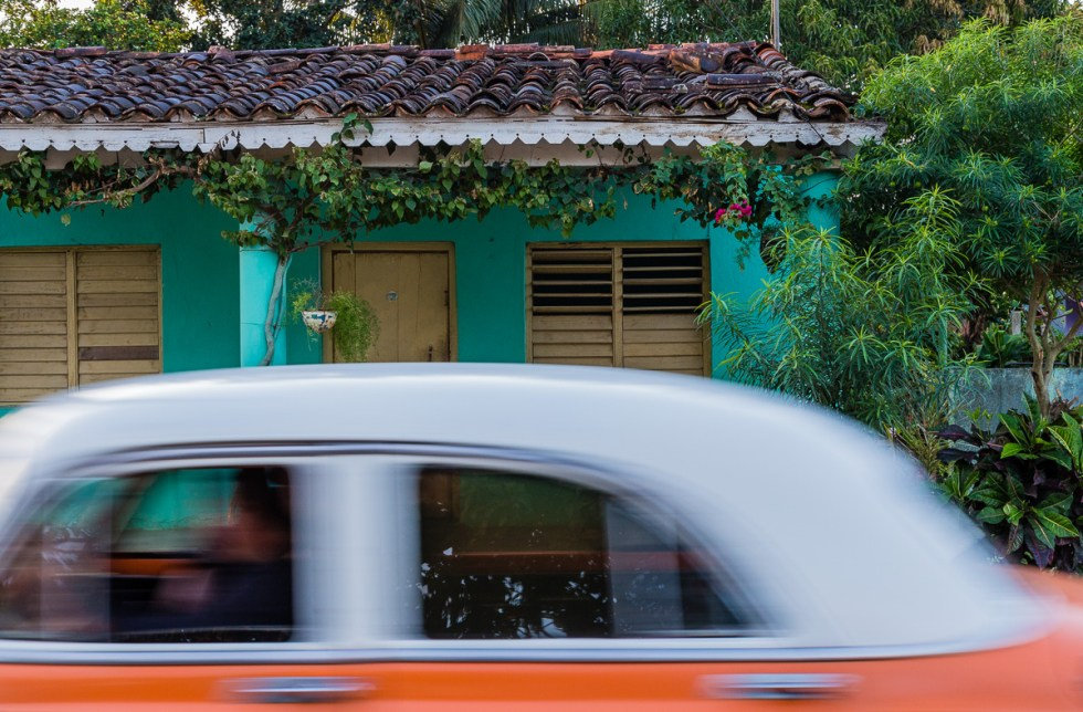 An old American car in motion in Vinales Cuba | LOST NOT FOUND | Cuba | Vinales | Street Photography