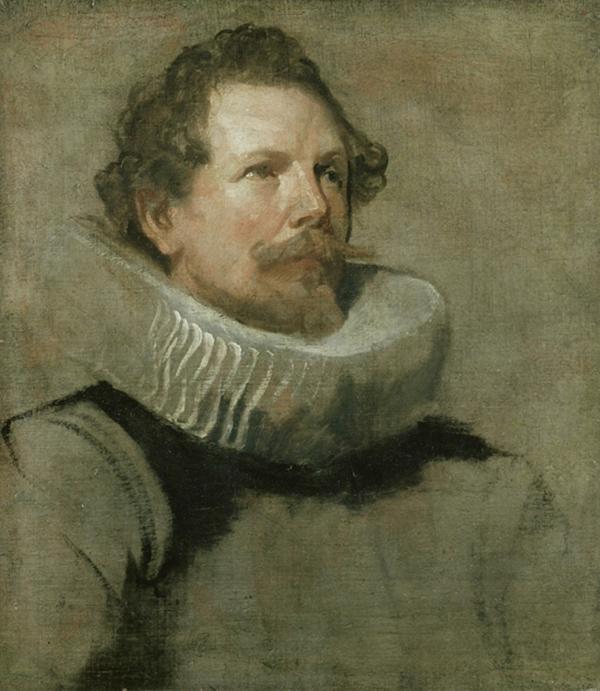 Van Dyck - Studie voor het hoofd van een van de regenten van Brussel - 52x46cm, Ashmolean Museum.