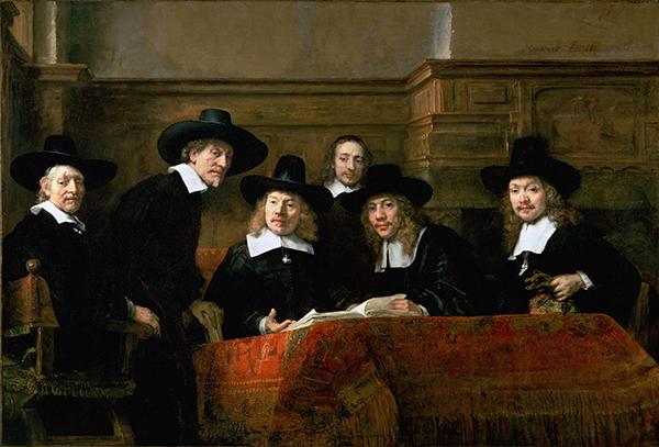 Rembrandt - de Staalmeesters - 192x279cm Olieverf op doek, 1662, Rijksmuseum Amsterdam