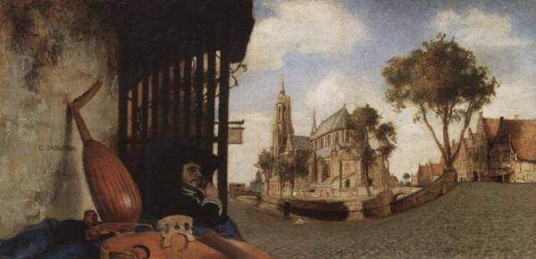 Carel Fabritius - Gezicht in Delft - 15x32cm, 1652, National Gallery, Londen. Mogelijk een voorstudie voor een muurschildering.