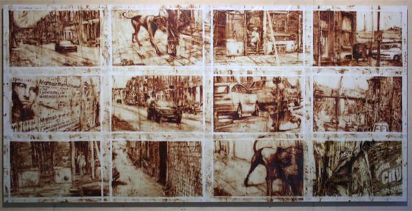 Michael Matthys - La Vile Rouge (Charlroi City) - Fresco met 12 panelen