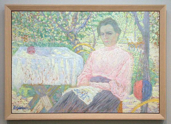 Kazimir Malevich - Vrouw met krant op schoot - Olieverf op paneel 1904