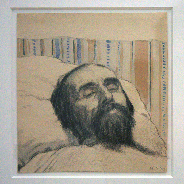 Ivan Klyun - Malevich een dag na zijn dood - Zwart kleurpotlood en gouache op papier 1935