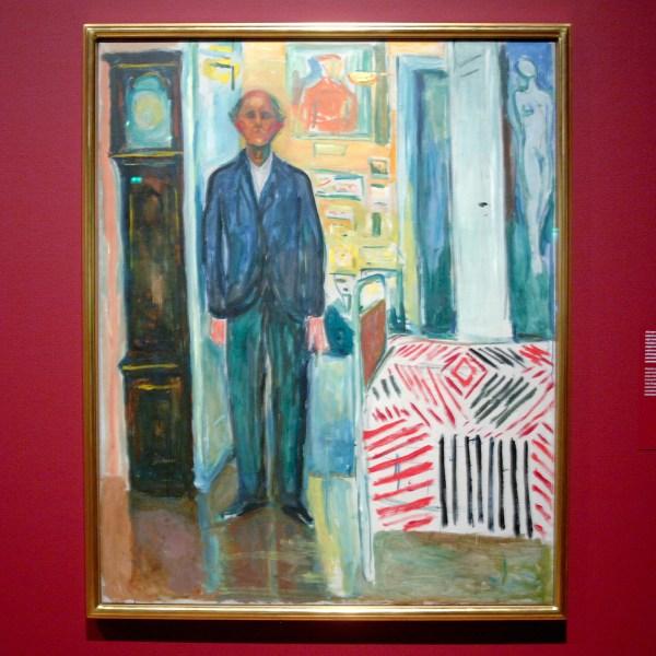 Edvard Munch - Zelfportret, tussen de klok en het bed - Olieverf op doek, 1940-1943