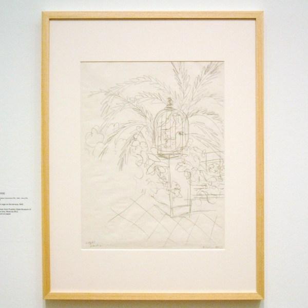 Henri Matisse - Vogelkooi op het terras - Potlood op papier, 1945