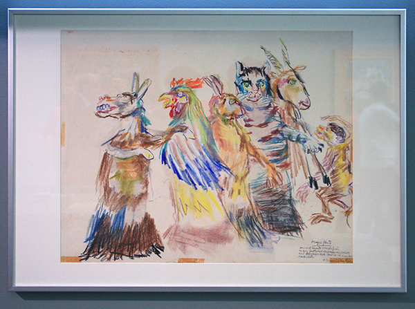 Oskar Kokoschka - De Dieren uit Die Zauberflote - Kleurpotlood op papier 1964