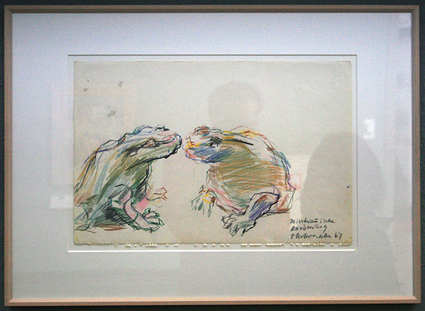 Oskar Kokoschka - Twee Kikker, Argwanende toenadering - Kleurpotlood op papier 1967
