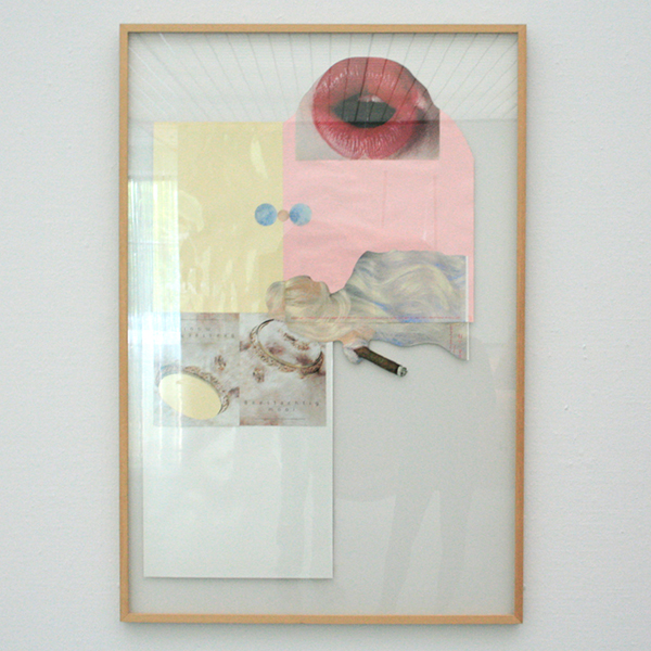 1997 - Lidy Jacobs - Pink Abstract - Fotocollage achter glas in lijst