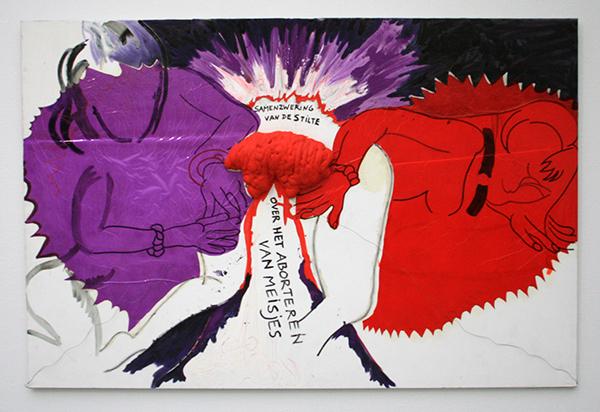 2004 - Charlotte Schleiffert - Over het Aborteren van Meisjes - Folie, acrylverf, purschuim, staaldraad, lijm en textiel