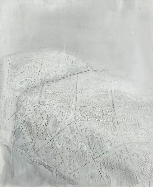 Blank - Acryl en draad 134x110cm