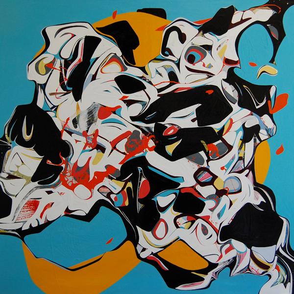 BLU - 200x200cm olie-en lakverf op canvas