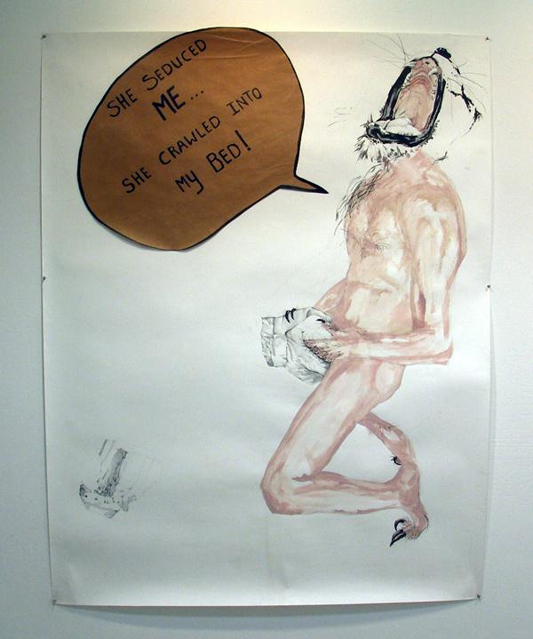 Eline Wessels - Man shaggin a diaper - 240x150cm Potlood, acrylverf en inkt
