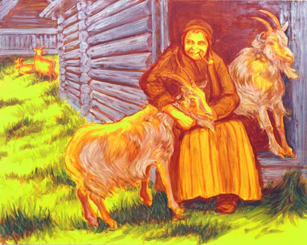 Old Woman Hugging A Goat - 122x153cm