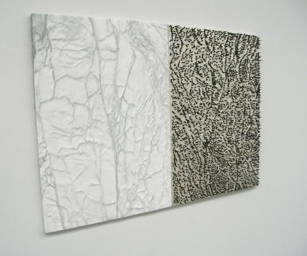 Pelle di marmo e spine dacacia (huid van marmer en doornen van Acacia) - Wit Carrara marmer, canvas, eitempera, zijde en acacia doornen
