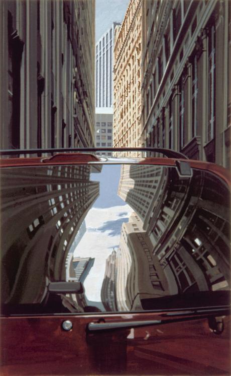 Richard Estes - Downtown-Reflections - 16x10inch Houtdruk in 19 kleuren van 15 blokken