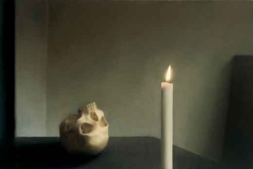 Schädel mit Kerze/ Skull with Candle, 1983, 100 cm X 150 cm, Oil on canvas