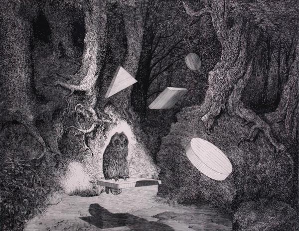 Daniel Arsham - The Owl - 180x234cm Gouache op mylar