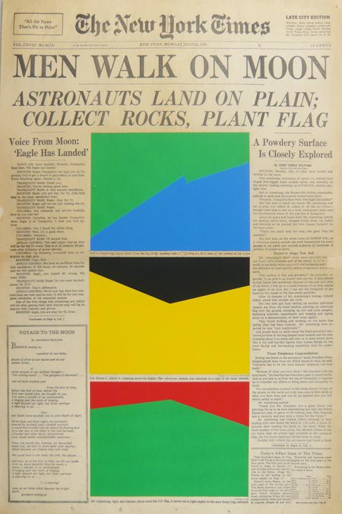 Marine Hugonnier - Art For Modern Architecture New York Times Man on the Moon, July 31, 1969 - 57x38cm Zeefdruk op krant