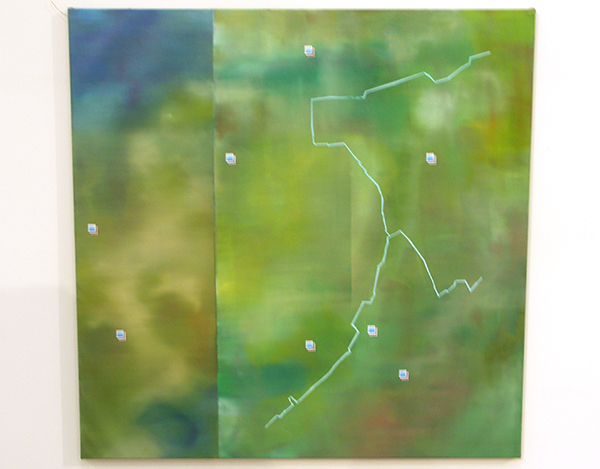 Aquil Copier - Mapping Landscapes #7 - 130x130cm Olieverf en airbrush op doek