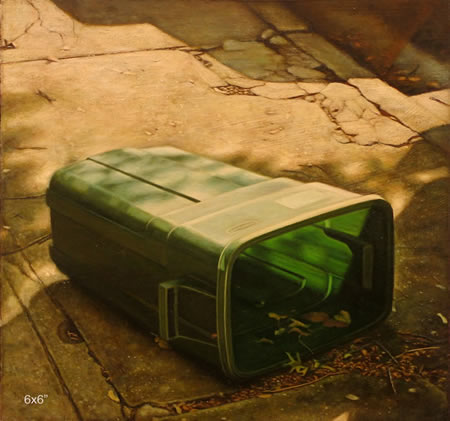 Green Trashcan on Side - 6x6inch Olieverf op paneel