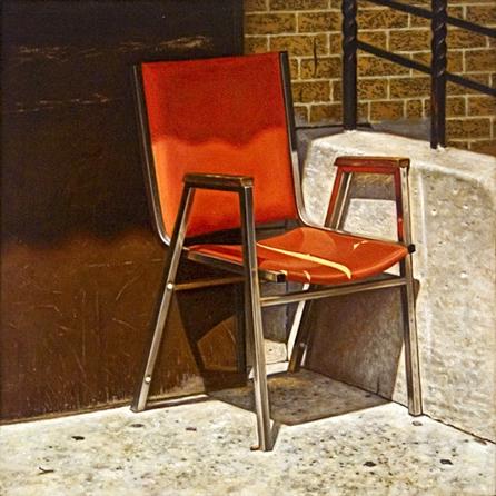 Orange Chair - 8,5x8,5inch Olieverf op paneel
