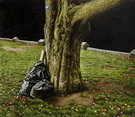Park Tree with Trash - 7x9inch Olieverf op paneel