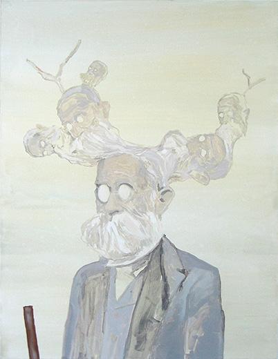 Empty Head- 90x70cm Acrylverf en olieverf op canvas