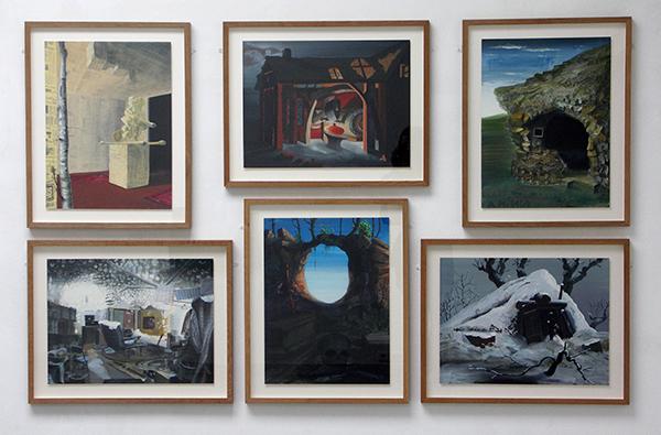 Olphaert den Otter - een selectie van 6 werken uit de Stalmorfologieserie - Eitempera op papier