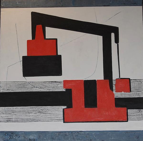 Cees Kortlang, Aran Port, 2006, 100 x 100 cm, olie op doek