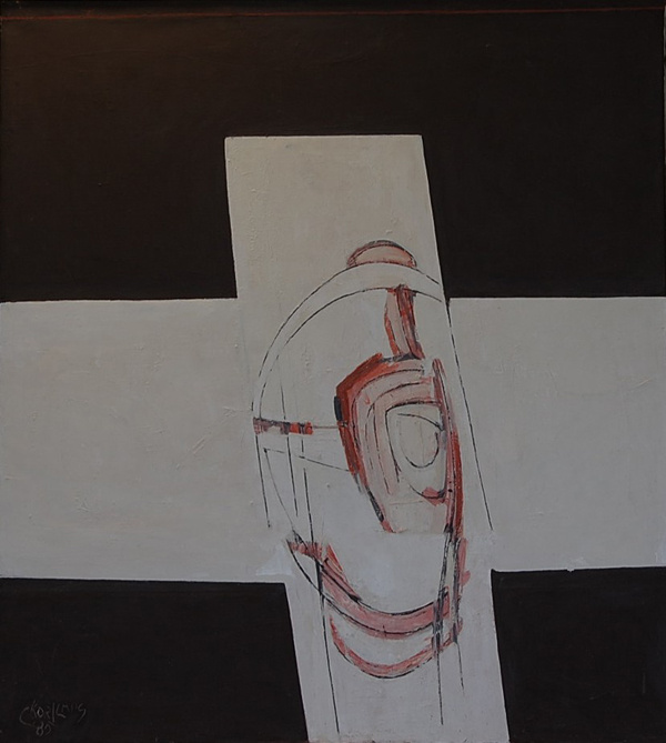 Cees Kortlang, Het kruis, 1985, 100 x 90 cm, olie op doek