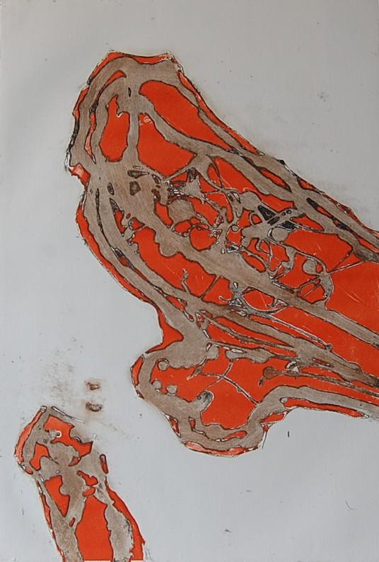 Cees Kortlang, Inschuivend rood, 2001, 64,5 x 44 cm, ets