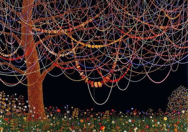 Hang Over - 84x120inch Bladeren, pillen, acrylverf en hars op houten paneel