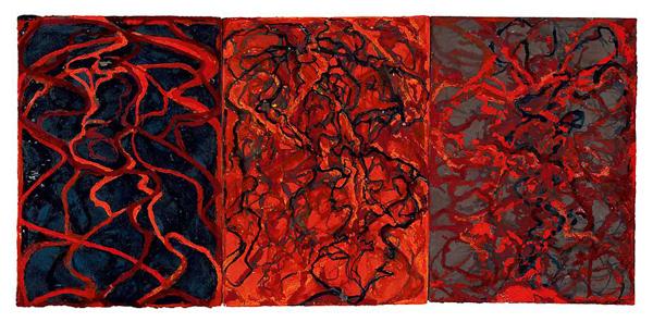 Nevisian Triptych - 3 maal 77x36cm Kremer inkt op zelfgemaakt papier