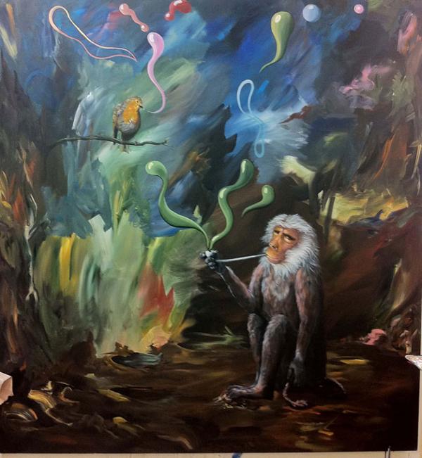 Silent Dialogue - 64x60inch Acrylverf op canvas